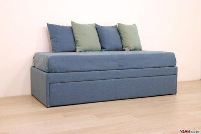 doppio letto imbottito in tessuto blu