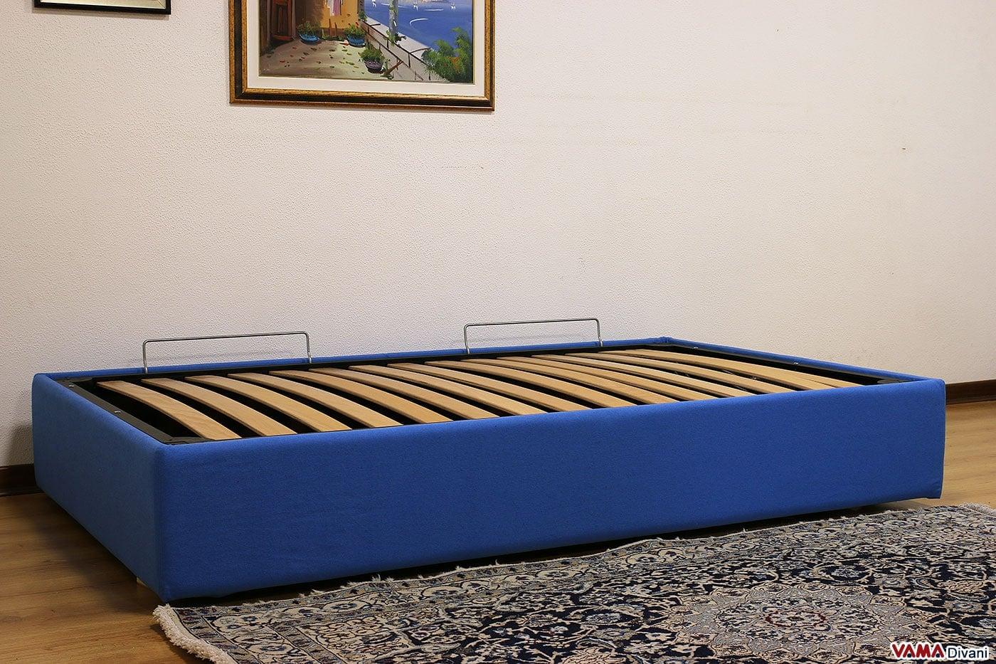 Letto con contenitore una piazza e mezza senza testata sommier - Spalliera letto con cuscini ...