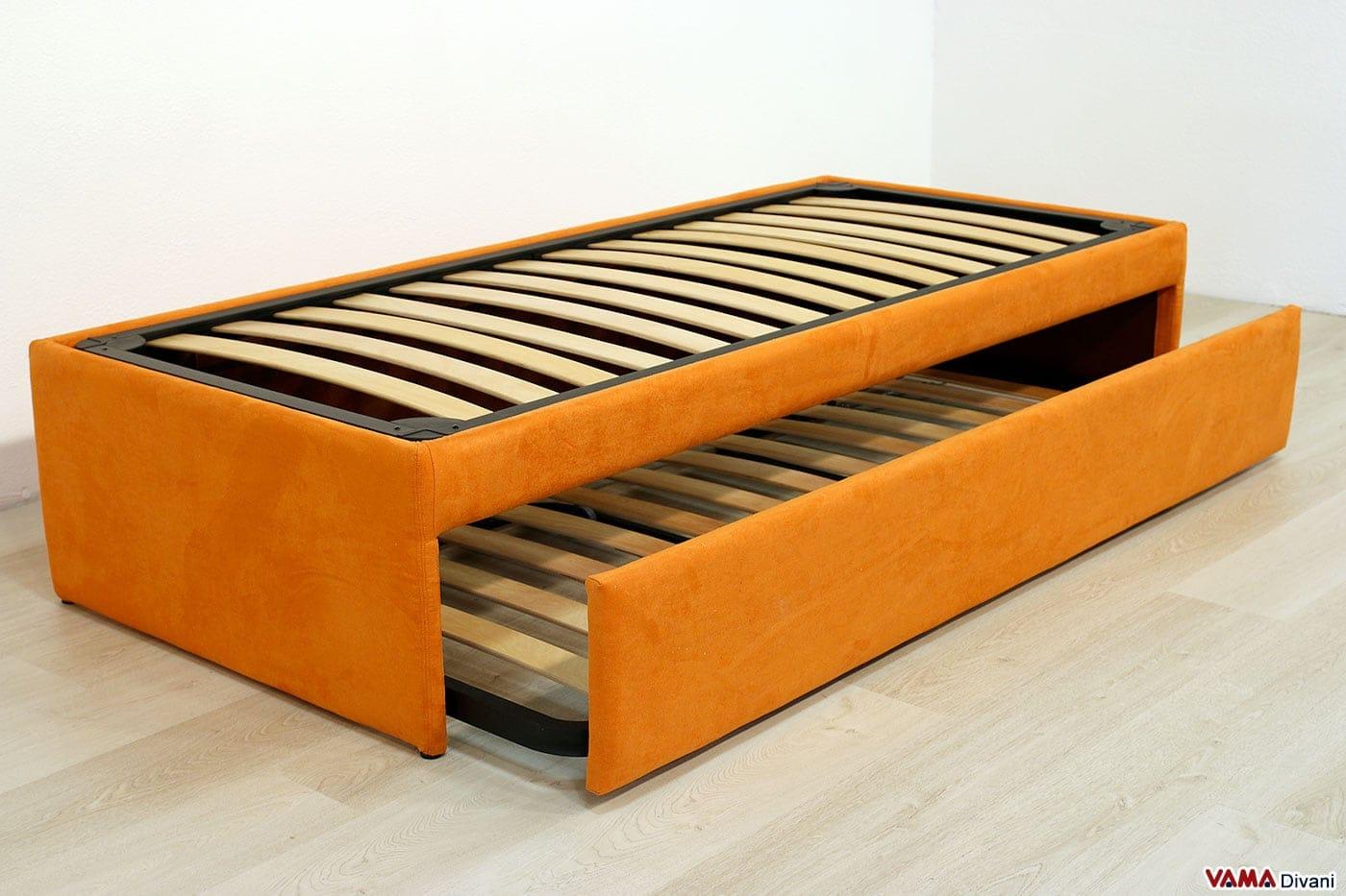 Doppio letto singolo estraibile a scomparsa con reti a doghe for Letto singolo con materasso