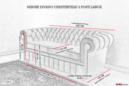 Dimensioni del Divano Chesterfield 2 Posti Large