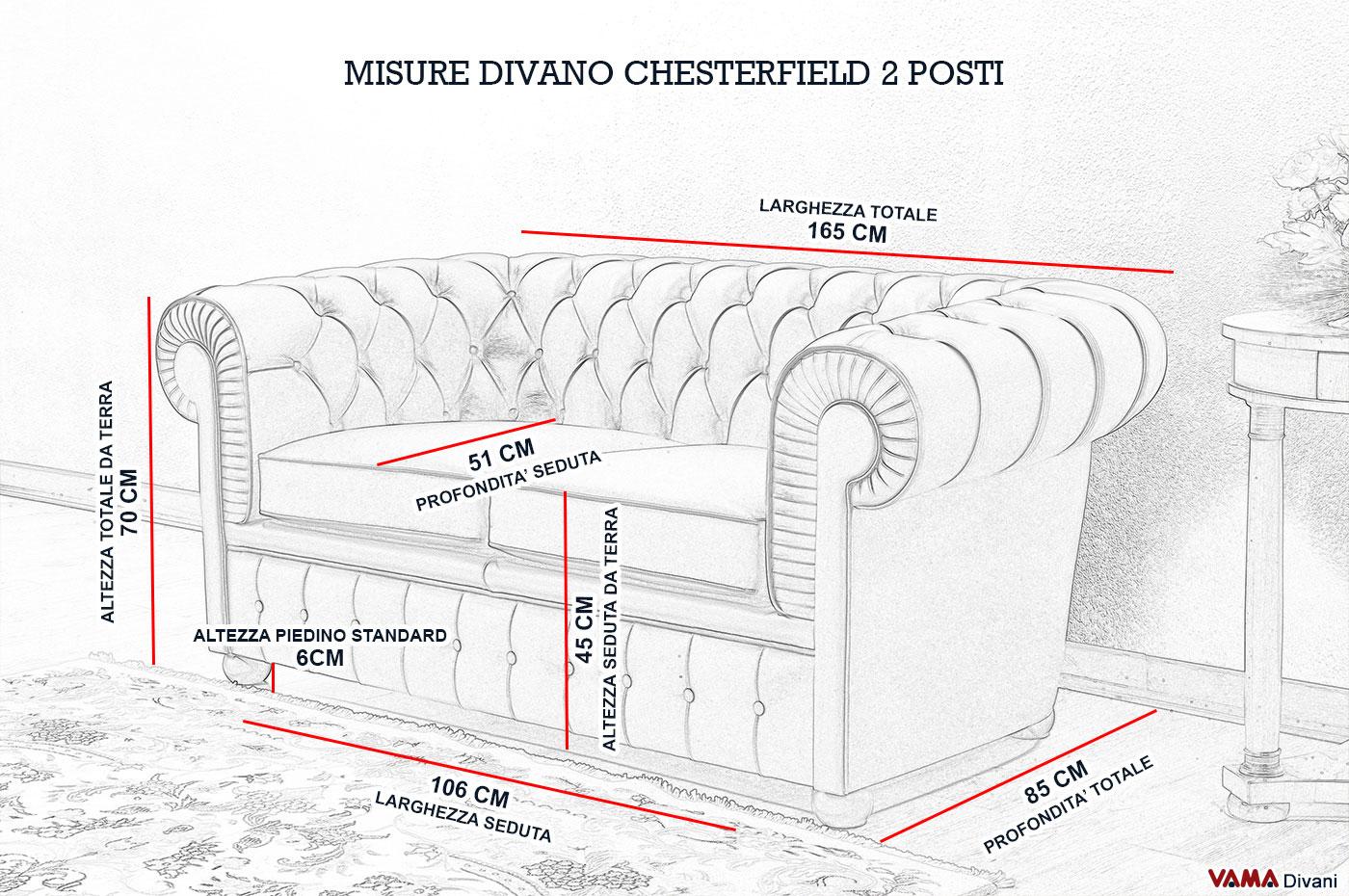 Divano chesterfield 2 posti vama divani - Divano 3 posti misure ...