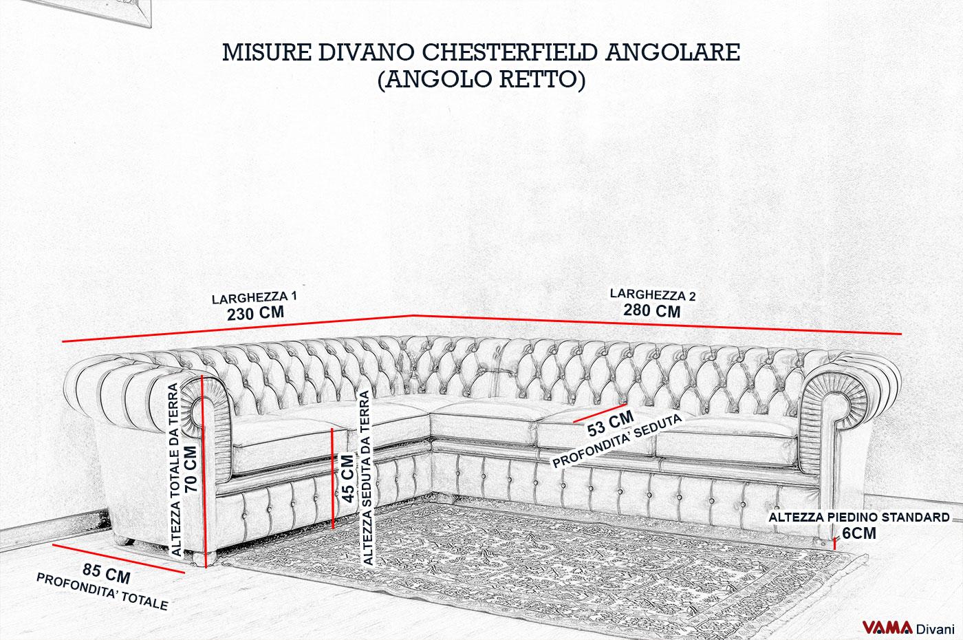 Divano chesterfield angolare prezzi e misura for Divano 4 posti dimensioni