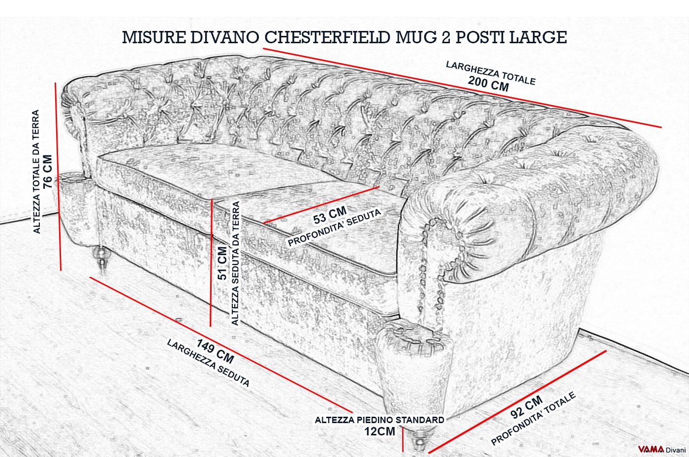 Divano chesterfield con bullette ricoperte in pelle - Misure divano al ...