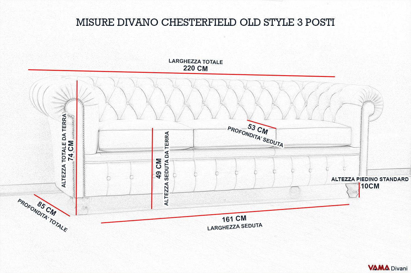 Divano chesterfield vintage con chiodi e piedini alti for Misure divani angolari 3 posti