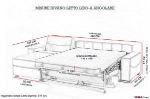Misure divano letto con penisola