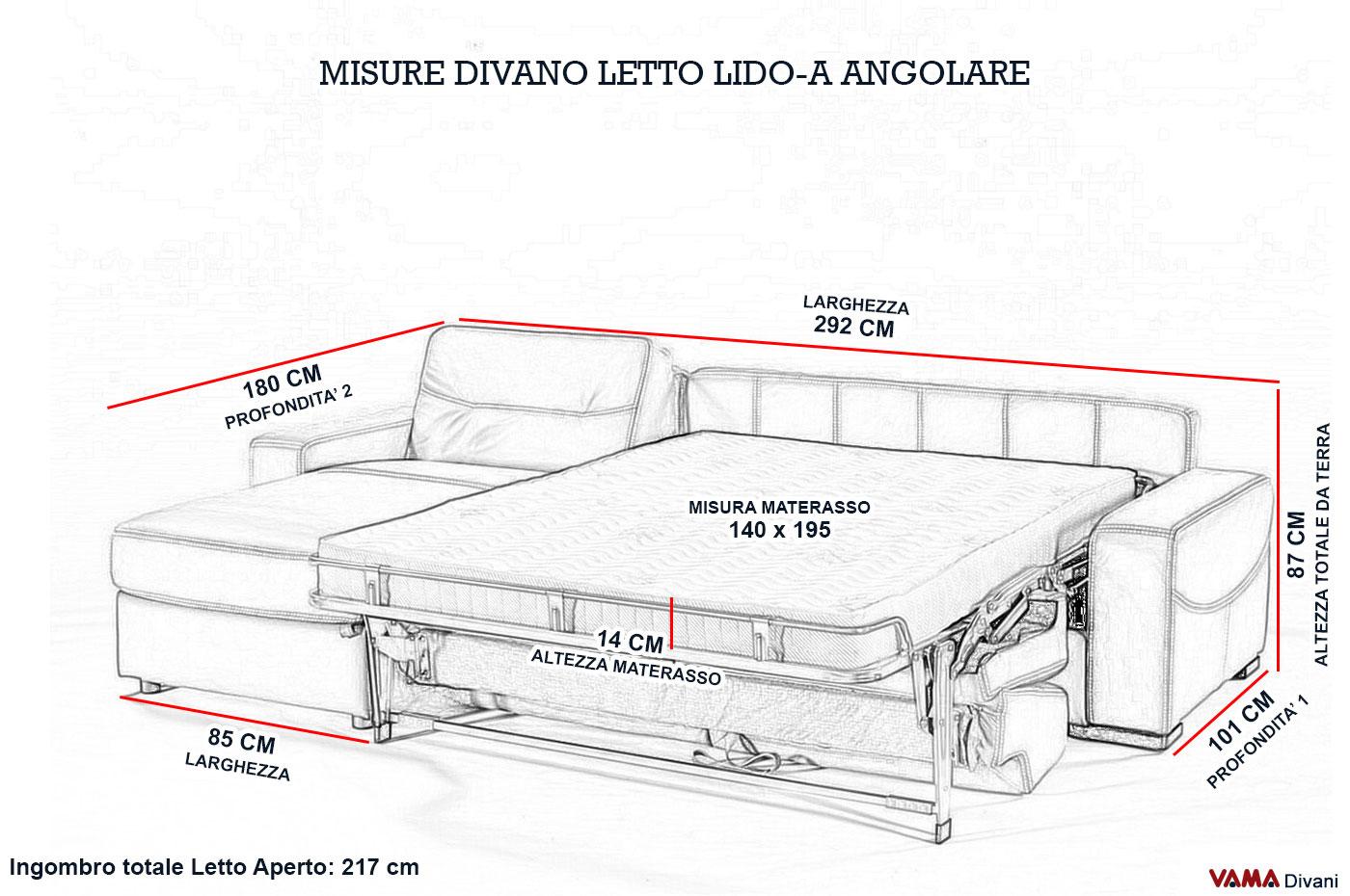Divano angolare con letto matrimoniale e penisola contenitore for Misure divano ad angolo