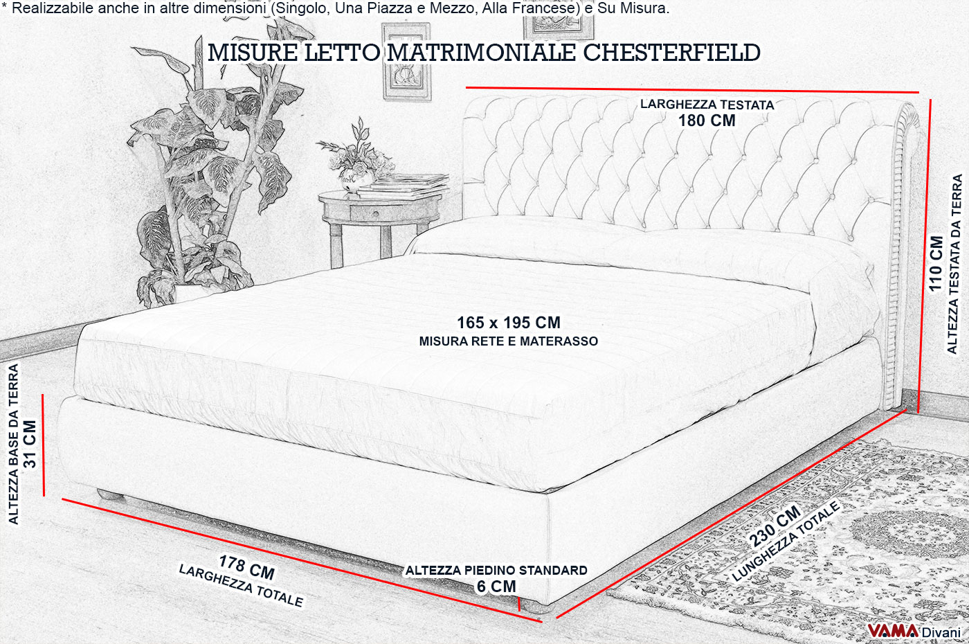 Letto chesterfield matrimoniale in pelle realizzabile su misura - Divano letto matrimoniale misure ...