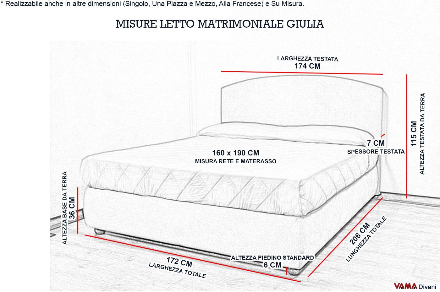 Letto matrimoniale in tessuto sfoderabile con contenitore for Letto a ponte misure