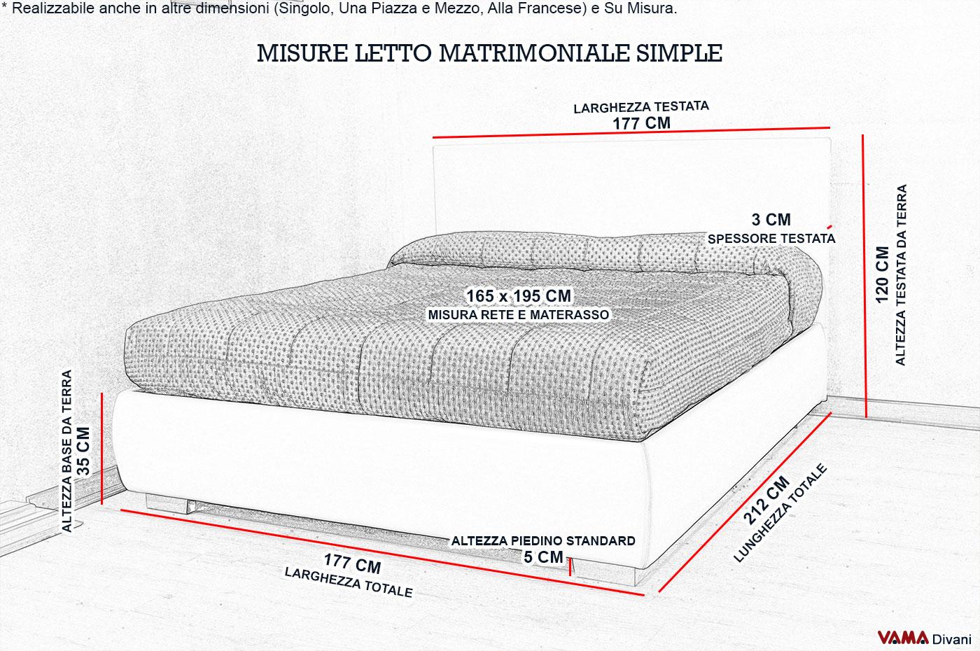 Letto imbottito in tessuto con contenitore testata semplice - Misure letto singolo ...