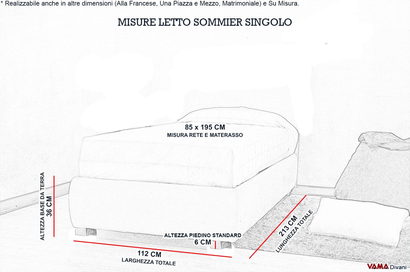 Emejing misure letto singolo contemporary idee - Misura letto singolo standard ...
