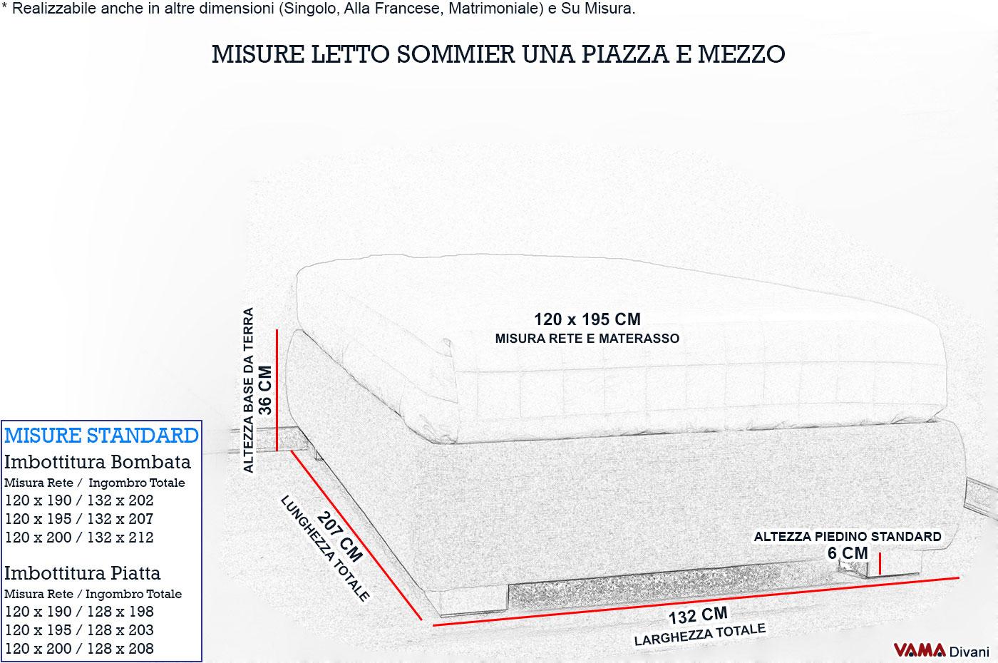 Quanto misura un letto a una piazza e mezza - Letto una piazza e mezzo misure ...