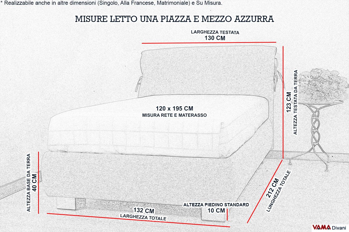 Dimensioni letti singoli letto imbottito singolo venezia fatto interamente a mano in italia - Letto una piazza e mezzo misure ...