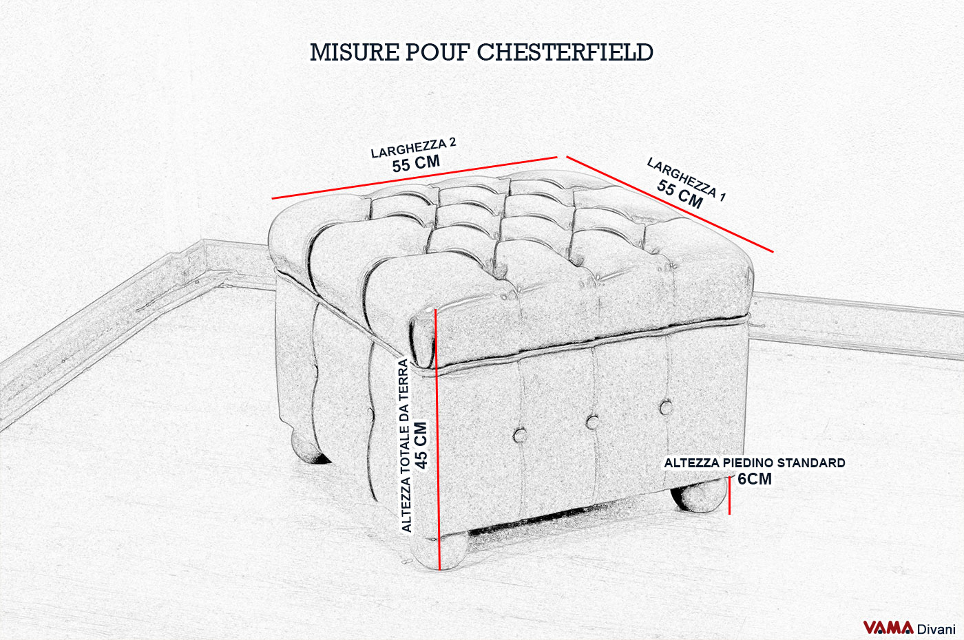 Misure Pouf.Pouf Chesterfield