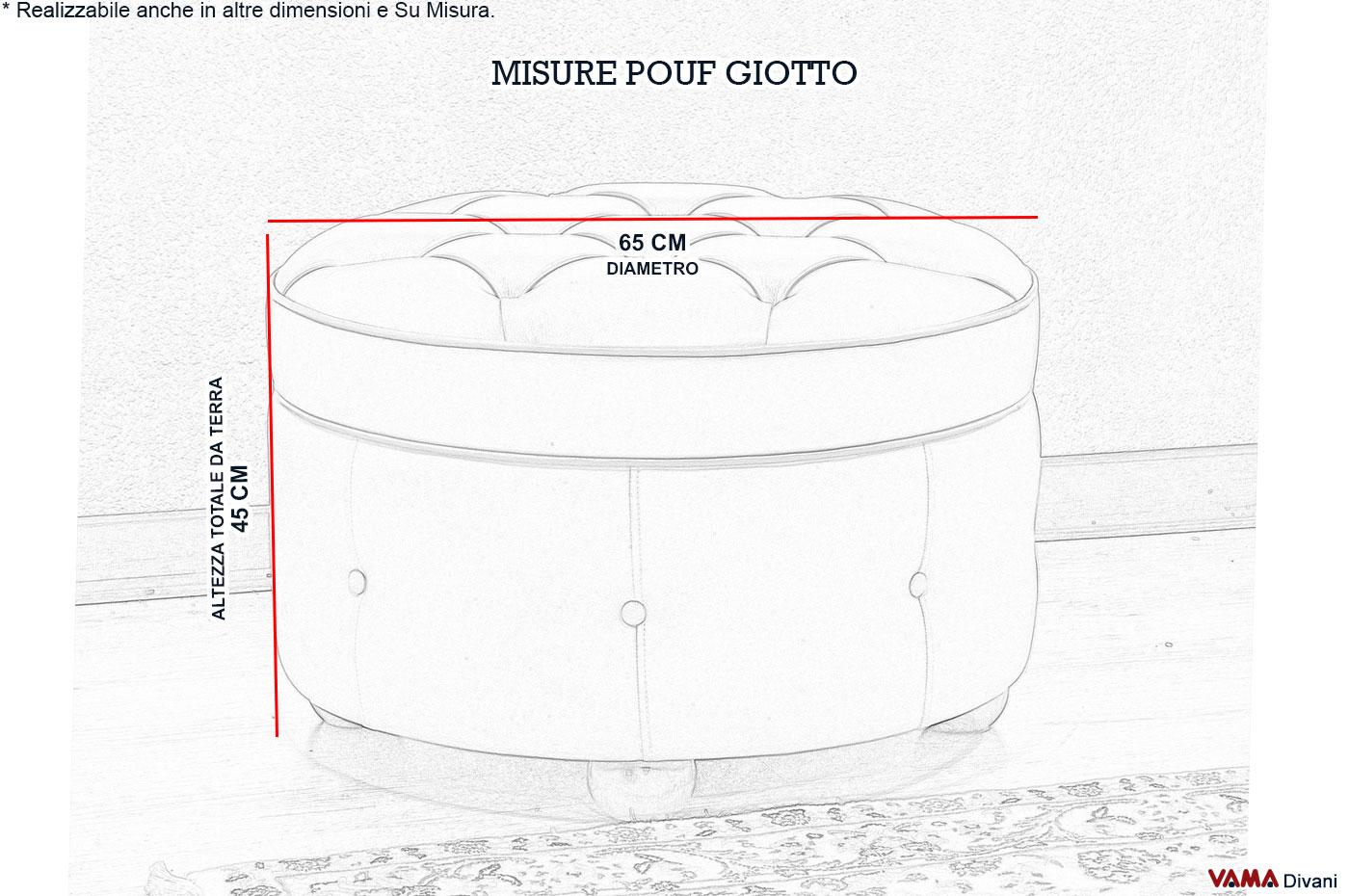 Misure Pouf.Pouf Tondo Giotto