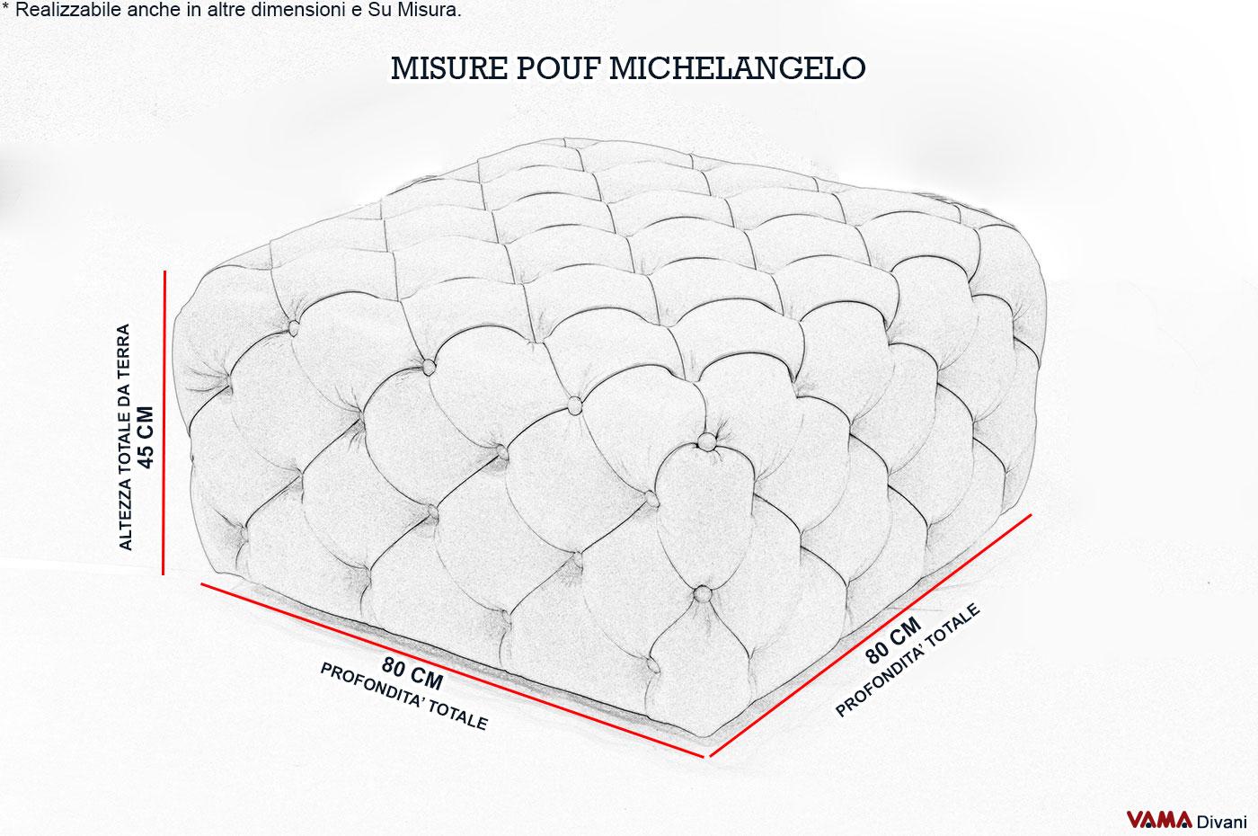 Misure Pouf.Pouf Capitonne Michelangelo