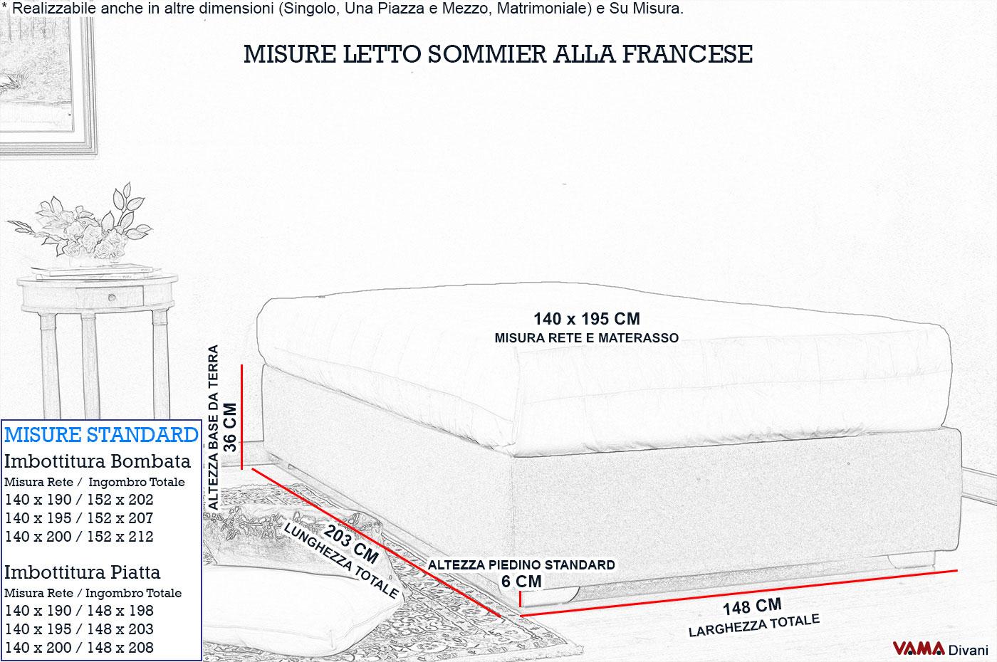 Letto alla francese con contenitore senza spalliera larghezza 140 cm - Misure di un letto matrimoniale ...