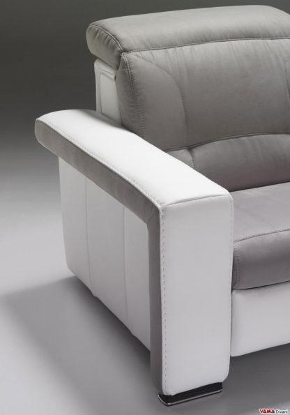 Divano recliner elettrico in tessuto grigio