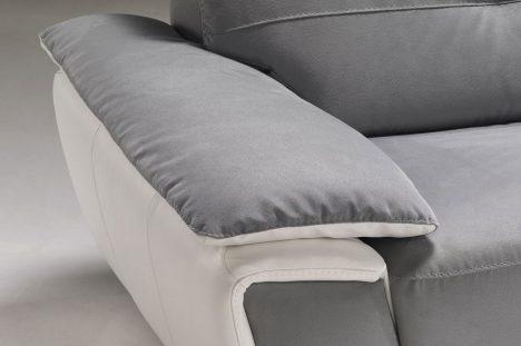 Divano moderno in tessuto con poggiatesta reclinabili