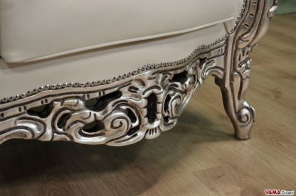 Base poltrona barocco in foglia argento