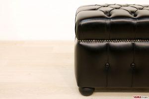 Pouf Chesterfield nero in pelle di alta qualità