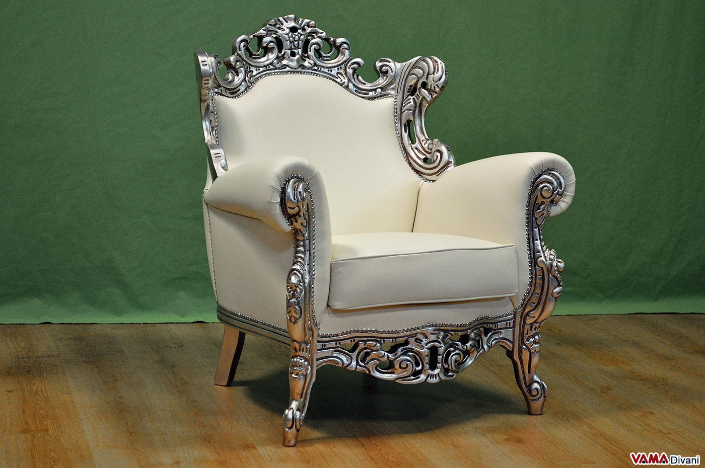 poltrona barocco in pelle bianca e cornice in foglia argento