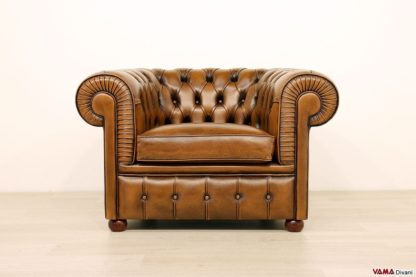 Poltrona capitonnè Chesterfield marrone