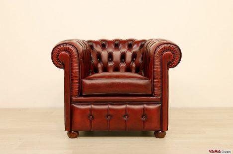Poltrona Chesterfield vintage rossa bordeaux piccole dimensioni