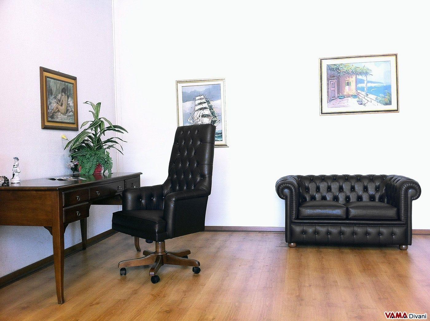 Poltrona presidenziale da ufficio senior vama divani for Pelle per arredamento