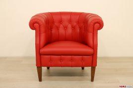 Poltrona classica di lusso Parigina Fumoir in pelle rossa