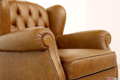 Bracciolo poltrona bergere marrone in pelle vintage