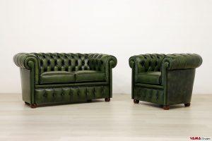 Poltrona e Divano Chesterfield verde in pelle