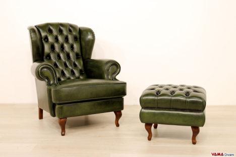 Poltrona classica con schienale alto vintage in pelle verde