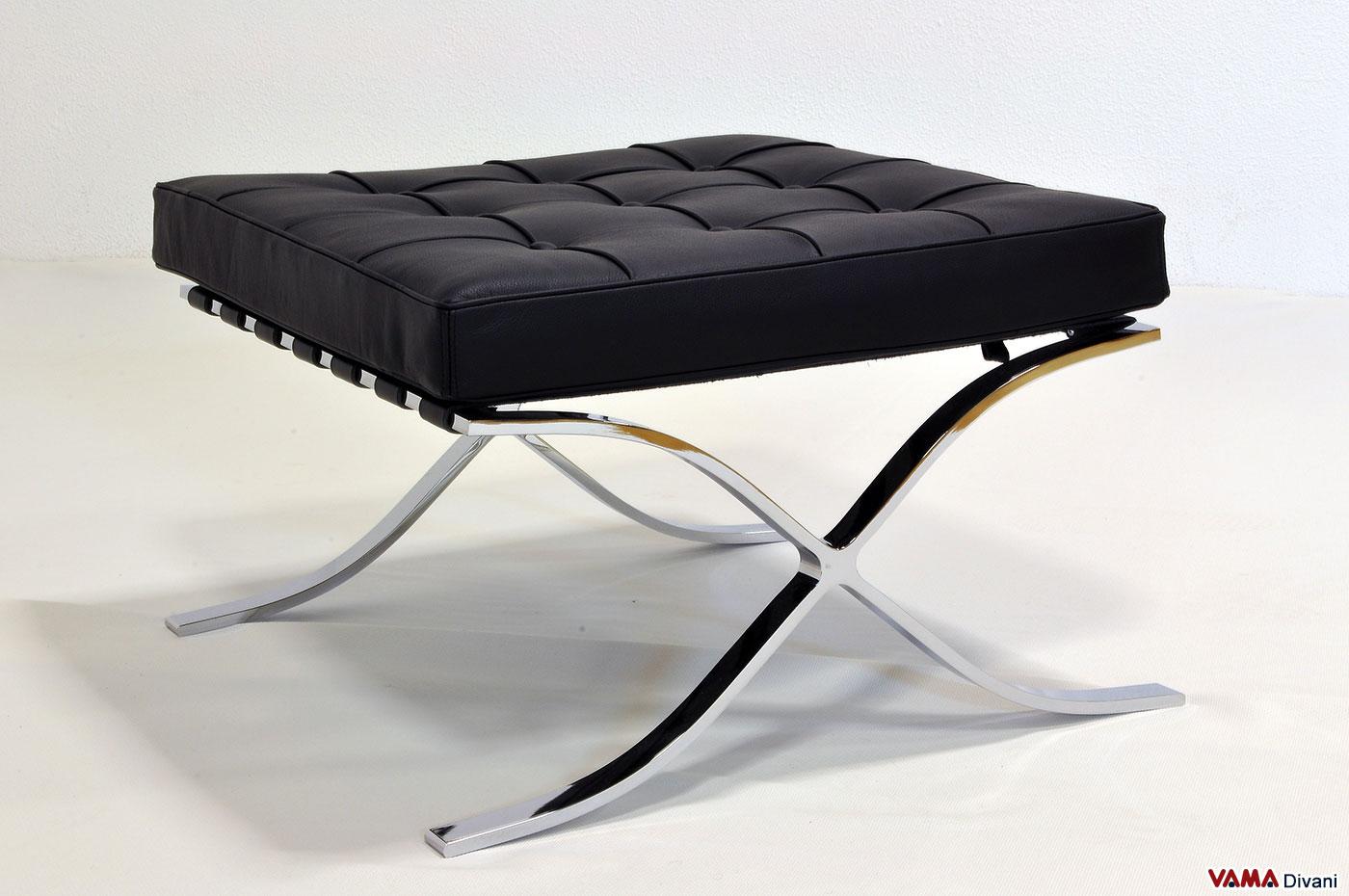 Pouf Poggiapiedi Cuoio Apelle Midj : Pouf barcellona in pelle nera con struttura acciaio cromato