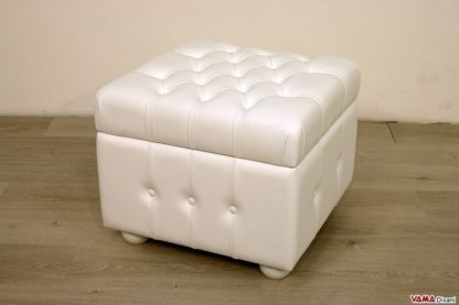 Pouf Chesterfield contenitore in pelle bianca