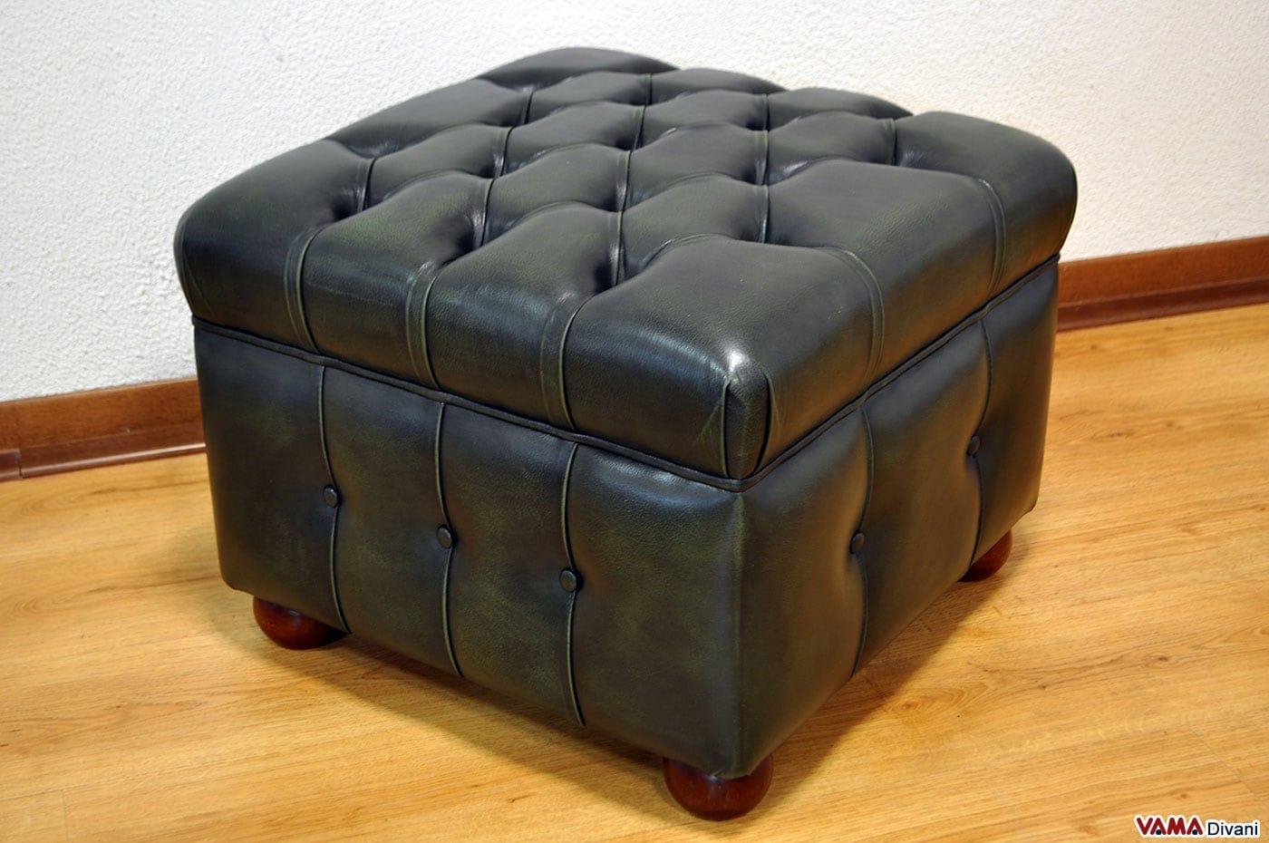 pouf chesterfield in pelle con contenitore anche su misura. Black Bedroom Furniture Sets. Home Design Ideas