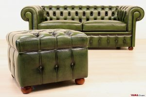 Pouf Chesterfield verde vintage
