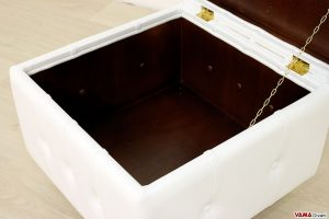 Pouf contenitore in legno verniciato