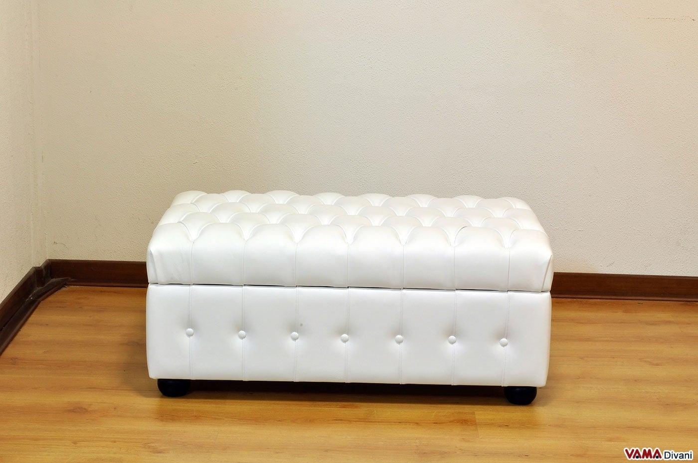 Pouf in pelle in capitonn e contenitore porta oggetti - Pouf per divano ...
