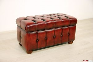 Pouf Chesterfield su misura in pelle bordeaux