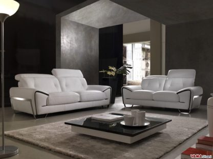 Salotto di design in pelle bianca