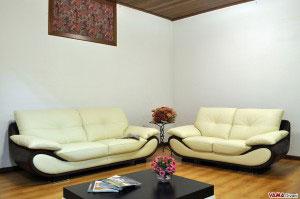 Salotto moderno in pelle bicolore