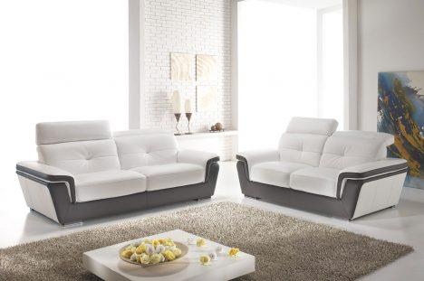 Divani con poggiatesta reclinabile in pelle bianca e marrone