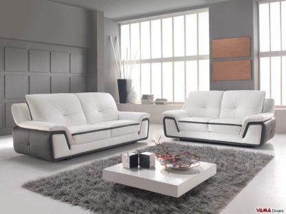 Salotto moderno comodo in pelle bicolore
