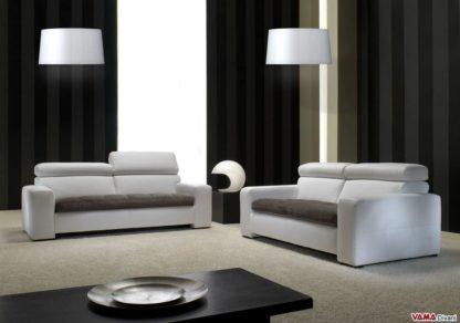 Salotto con divani moderni in pelle e tessuto