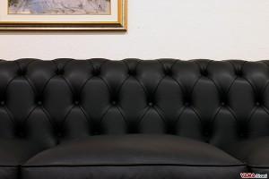 Schienale divano chesterfield nero in pelle