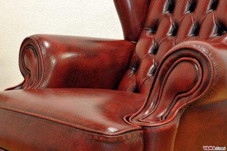 Seduta e bracciolo Poltrona Bergère in pelle invecchiata a mano rossa