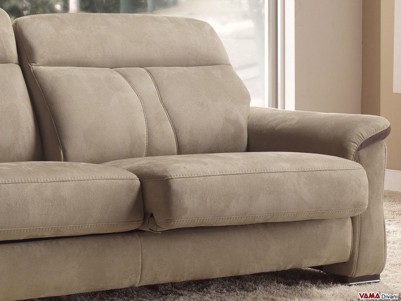 Divano moderno in tessuto e pelle con sedute allungabili - Divano seduta scorrevole ...