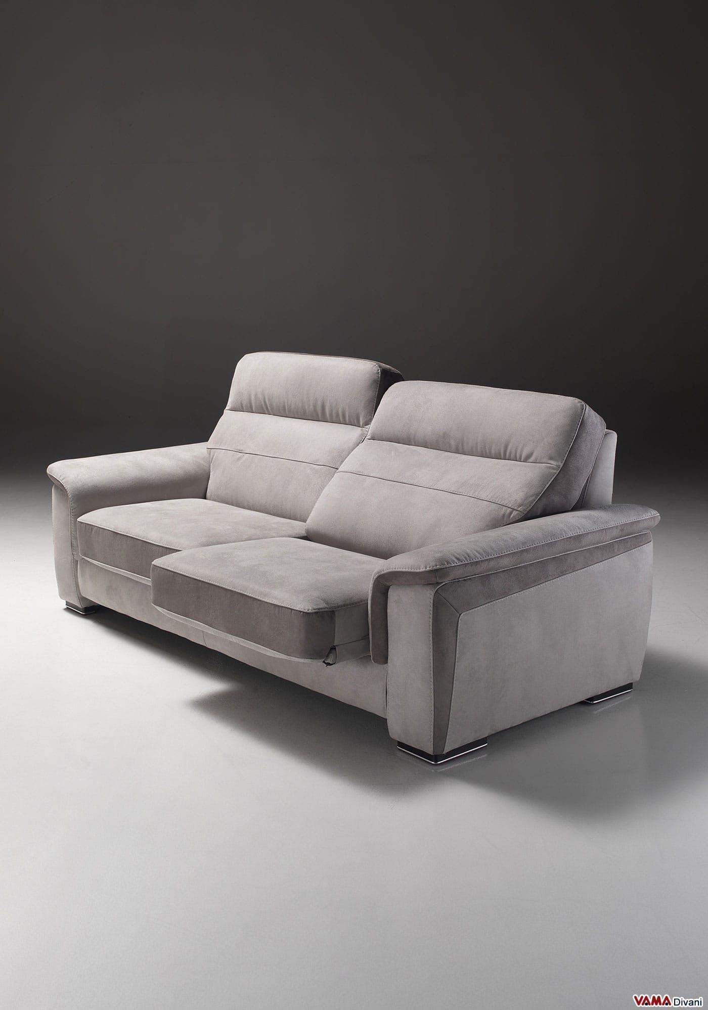 divano relax in pelle e tessuto con sedute scorrevoli. - Divani Con Seduta Allungabile