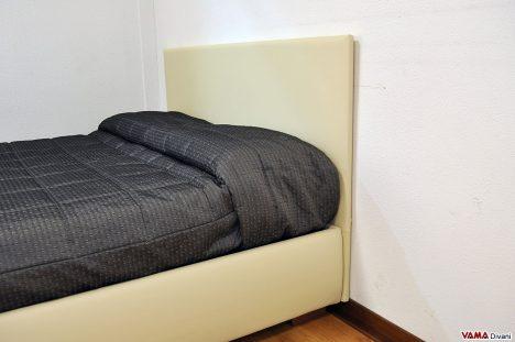Testiera semplice letto matrimoniale in tessuto con contenitore