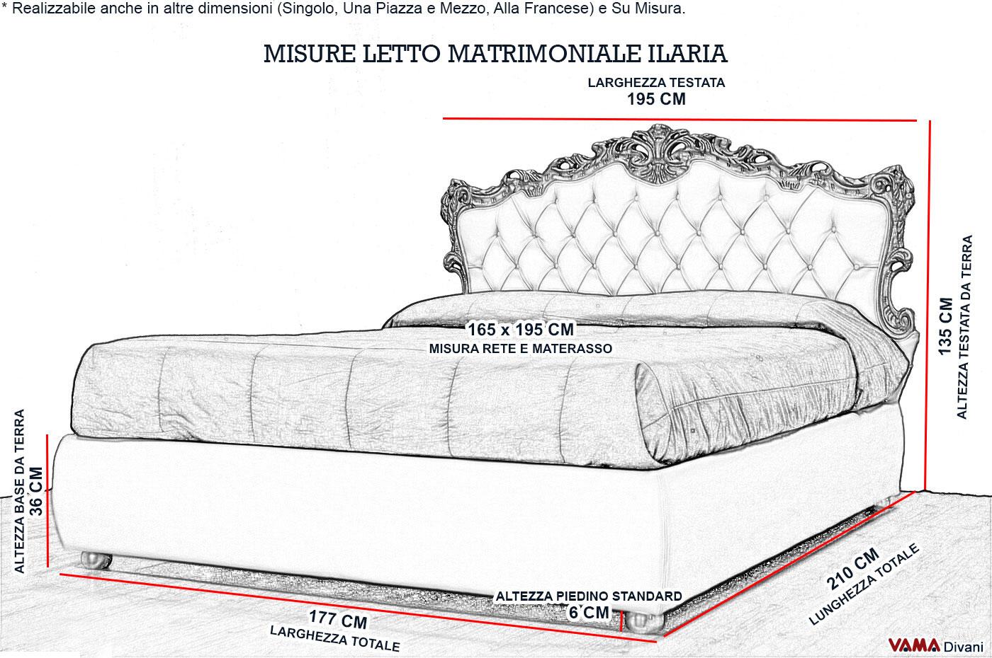 Letto barocco in stile veneziano con contenitore portaoggetti - Misure camera da letto matrimoniale ...